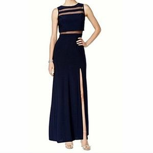 Nightway navy blue floor length gown